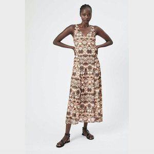 Witchery Tan Brown Print Sleeveless Maxi Dress XS